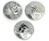 3 монеты: 3 рубля 2014 год. Серебро 925 проба. 31.1 грамм. Керлинг, Санный спорт, Коньки.