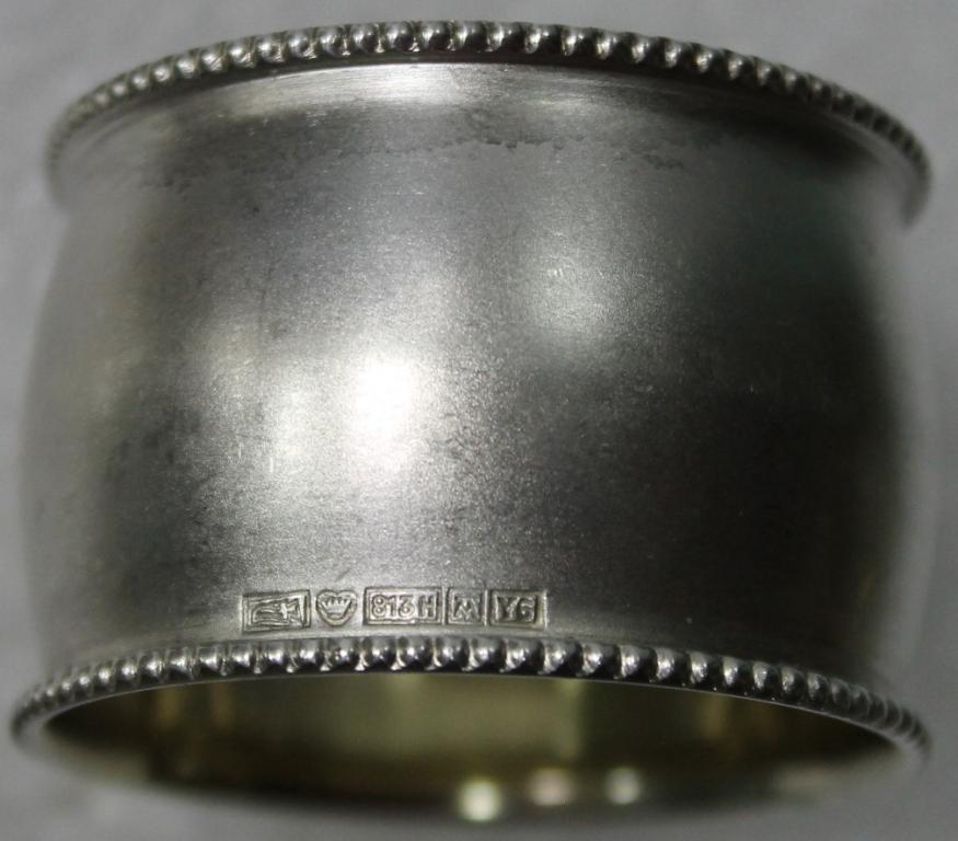 Кольцо для салфеток Салфетница серебряная 813 пробы Финляндия 1952г.