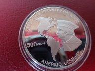 Северная Корея 500 вон 1989 ПРУФ. Америго Веспуччи . Дост до 1,5 месяца ОРИГИНАЛ СЕРЕБРО/ Z 63