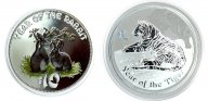 2 монеты: 10 долларов 2011 год. О-ва Кука. 1 доллар 2010. Австралия. Год Кролика и Тигра. Серебро.