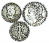 3 монеты: 1 доллар 1878 год. 1/2 доллара 1946, 1950 год. Серебро 51.6 грамм.