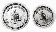 2 монеты: 1 доллар и 50 центов 2004 год. Австралия. Год обезьяны. Серебро 999.