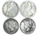 4 монеты: 1 доллар 1922 и 1923 год, США. Талер Мария Тереза 1780, Австрия. Рестрайк. Серебро 109.7гр