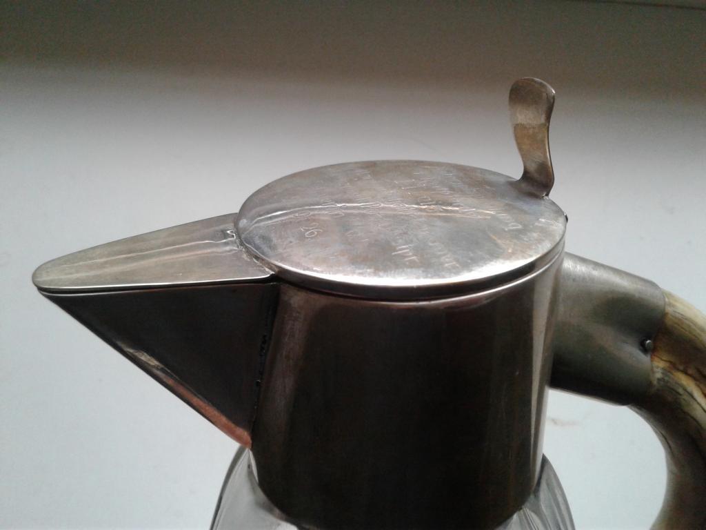 "Кувшин. B.E.P.W.F. Хрусталь, серебро 800, рог Гравировка ""1 место в верховой езде. Бавария 1926"