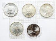 5 монет:  3 рубля 1995, Соболь. Серебро 925 проба. ЗАПАЙКИ