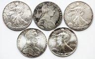 5 монет: 1 доллар 2002 (2шт) и 1988, США. Талер Мария Тереза 1780, Австрия. Рестрайк. 2шт. Серебро