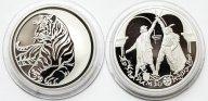 2 монеты: 3 рубля 1999, 2010 год. Раймонда. Год Тигра. Серебро 900/925. 31.1 грамм.