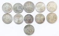 11 монет: 50 шиллингов 1970, 1971, 1972, 1976, 1978, 1982 Австрия. и др. Серебро 225.7 гр.