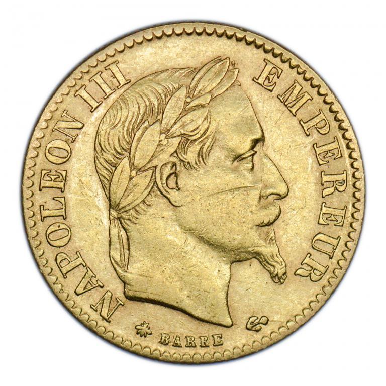 10 франков 1867 год. Франция.  Золото. вес: 3,2 грамма.