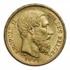 20 франков 1871 год.  Бельгия, Леопольд II. Золото 900,  вес: 6,45 грамм