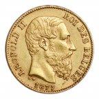 20 франков 1877 год.  Бельгия, Леопольд II. Золото 900,  вес: 6,45 грамм
