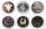6 монет: 1 доллар 1972, 1975, 1978, 1979, 1982 и 1988 год. Серебро 139,6 грамм.