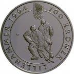 Норвегия 100 крон 1992 Хоккей Олимпиада с 1 рубля за 1 руб