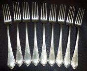 Набор из 9 антикварных вилок из серебра 800 пробы - 573 грамма - Европа - супер - ЗА ЦЕНУ ПОКУПАТЕЛЯ