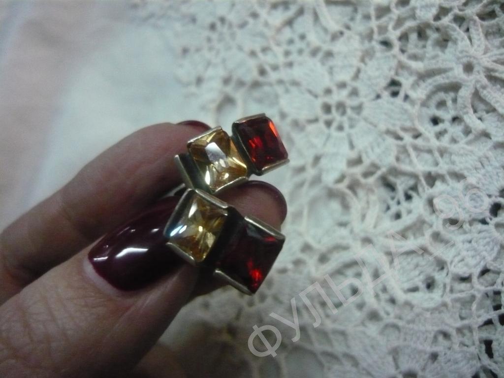 Комплект Сережки Кольцо Кулон Камни Серебро 925