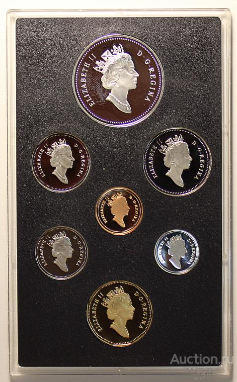 Годовой набор 1993-1995 года. 7 монет (1 доллар из Серебра). Канада. Пруф! Серебро/медно-ник.!