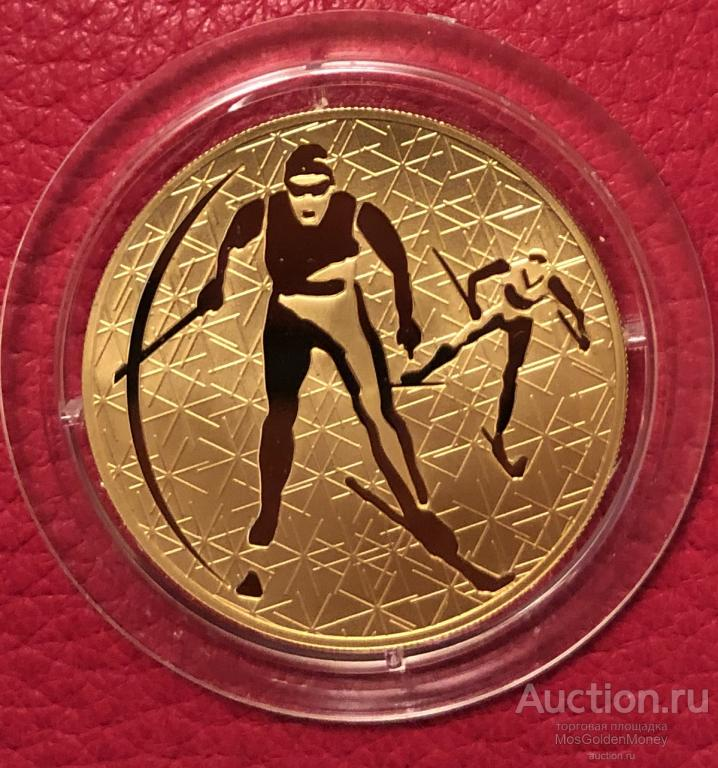 Золотая монета 200 рублей  2010 ЛЫЖИ , 1oz, Au999, РЕДКАЯ. С РУБЛЯ!!!!!!!
