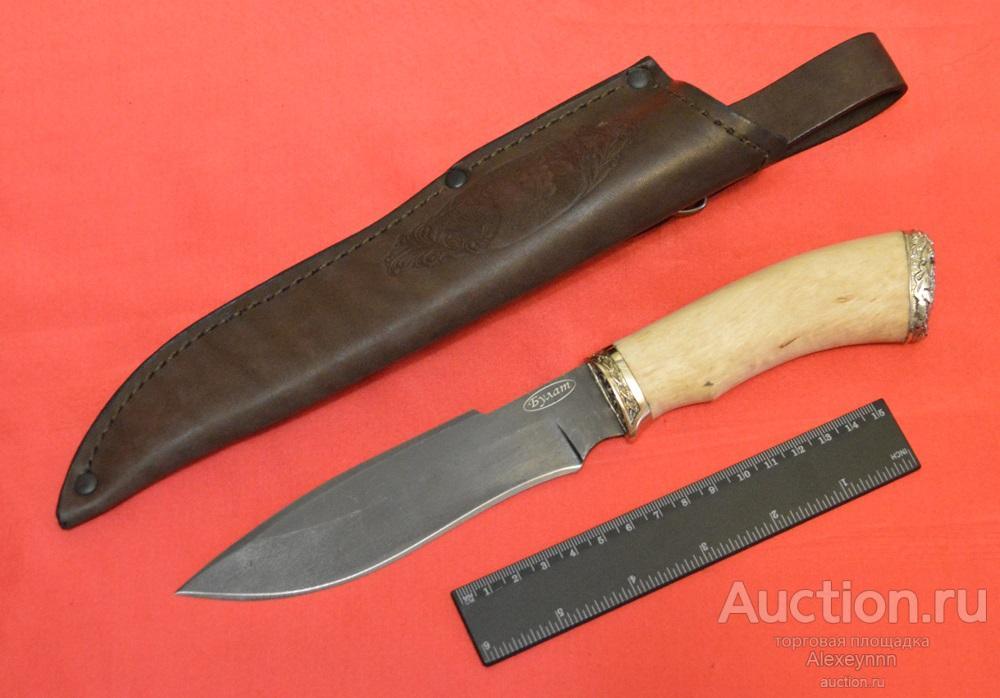 """Охотничий нож """"Сибиряк"""". 4,2 мм! Булат, булатная сталь, герб ФСБ. Ручная работа. С рубля!"""