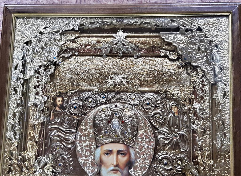 Удивительная Икона Николая Чудотворца Лики писаны маслом Дерево размер ; 68*98 см С Рубля