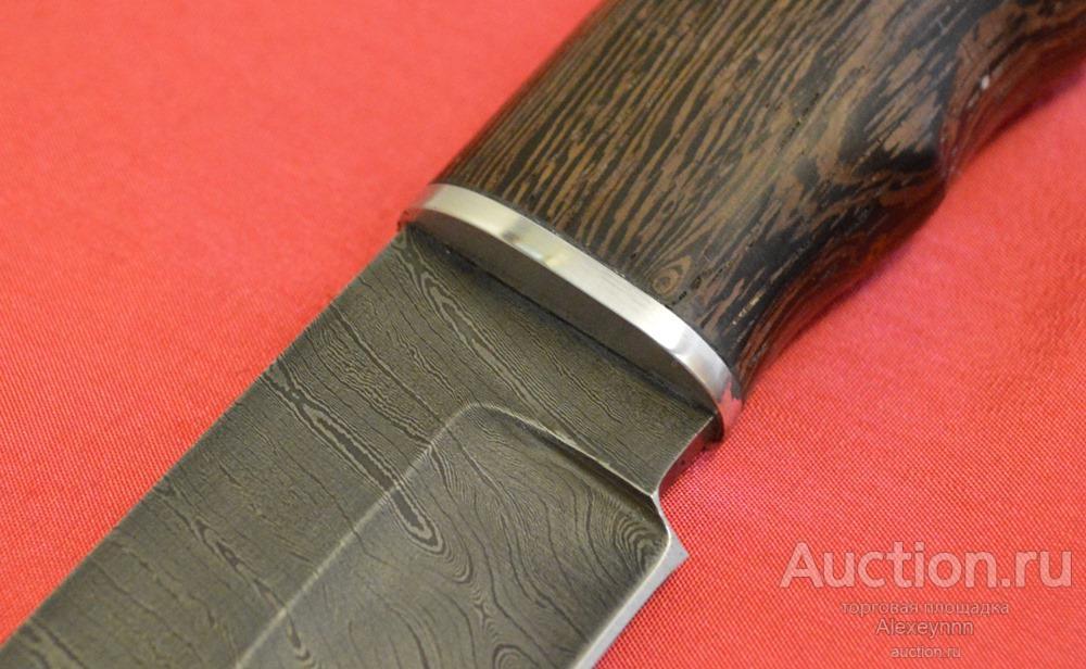 Охотничий нож «Тигр» дамаск. Дамасская сталь. 3,7 мм. Венге, дюраль! Ручная работа! С рубля!
