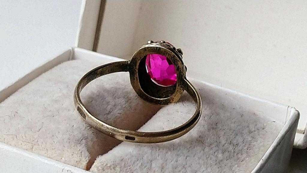 Советское серебряное кольцо золочение корунд серебро 875 со звездой СССР 1950