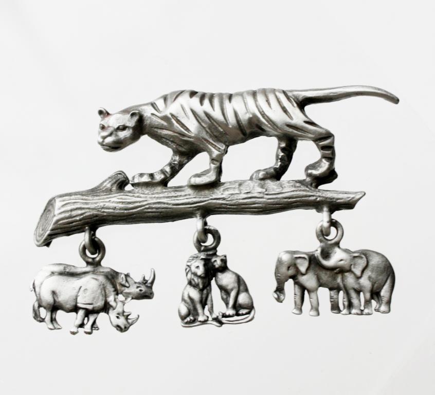 """Винтажная брошь """"Тигр в серебряном"""" от Luca Razza"""