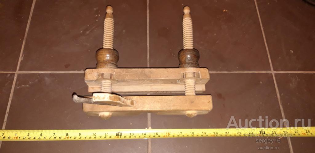 Шпунтубель с  направляющей на деревяных винтах Инструмент старинный Плотник Столяр СОХРАН 100%