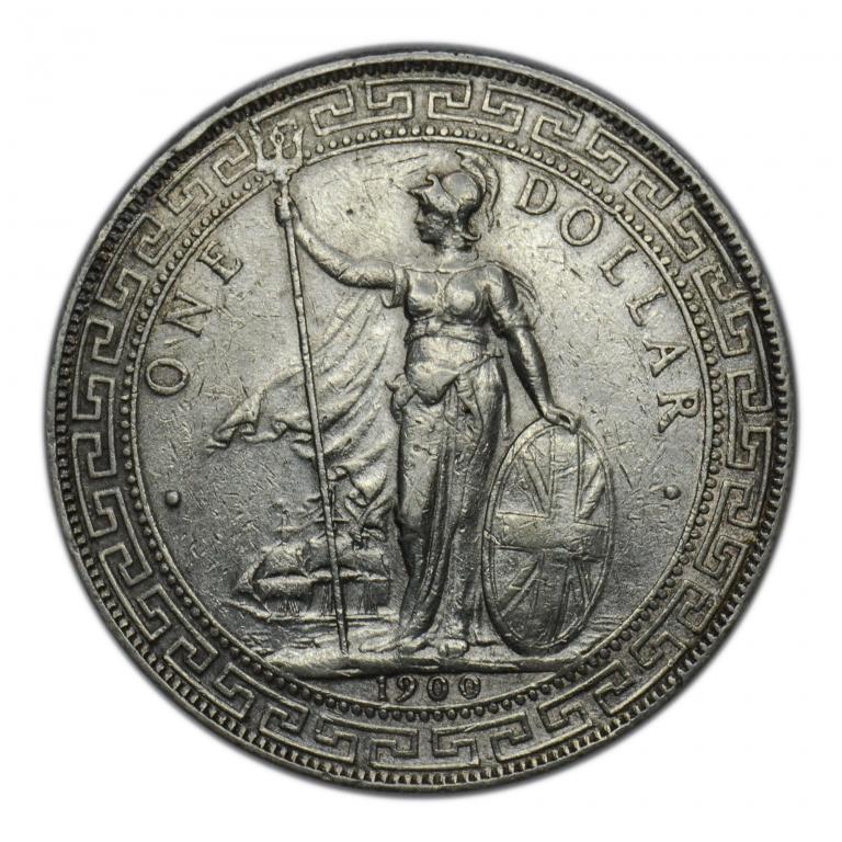 Торговый доллар 1900 года. Великобритания. Серебро 26.9 гр.