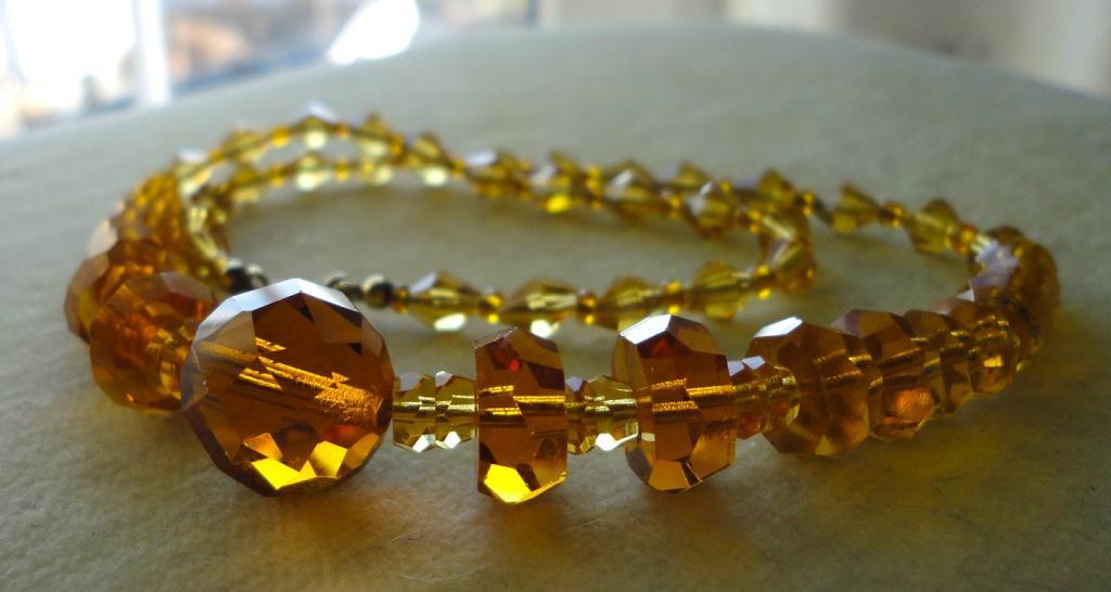 Довоенное ожерелье бусы 41,5см Медовый хрусталь Gablonz