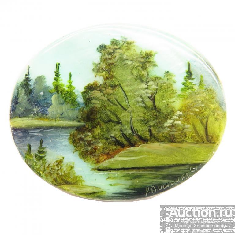 Брошь Летний пейзаж ручная живопись натуральный перламутр авторская брошка лето природа 20513