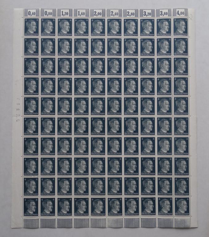 Третий Рейх MiNr.783 1941г. полный лист /№32537, 100 марок/ **