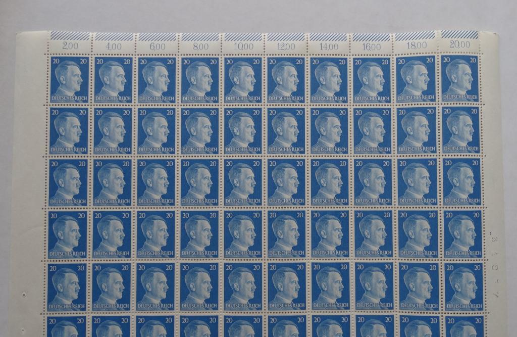 Третий Рейх MiNr.791 1941г. полный лист /№31877, 100 марок/ **