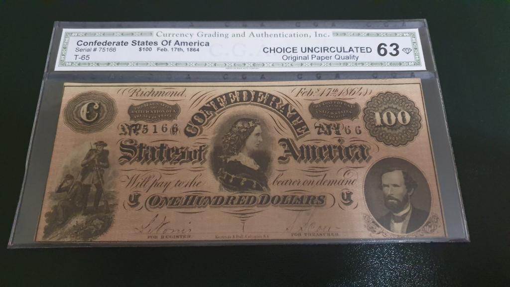 100 долларов 1864 T-68 Confederate States of America СGА 63