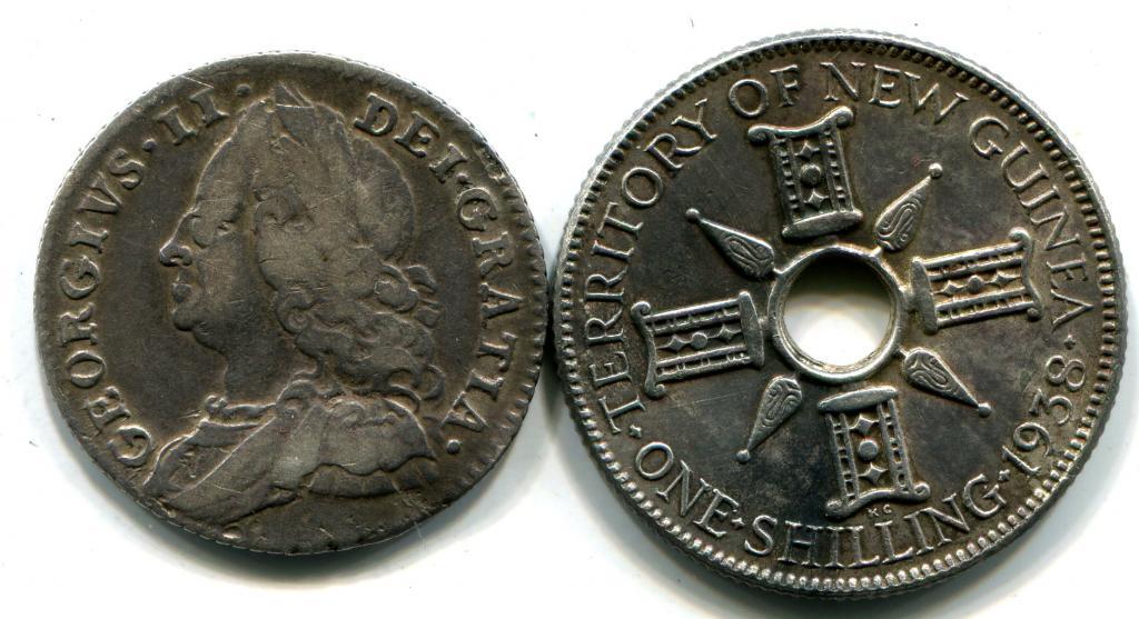 2 монеты : 1 шиллинг 1938 г., Гвинея. 6 пенсов 1757 года. Георг II. Великобритания.