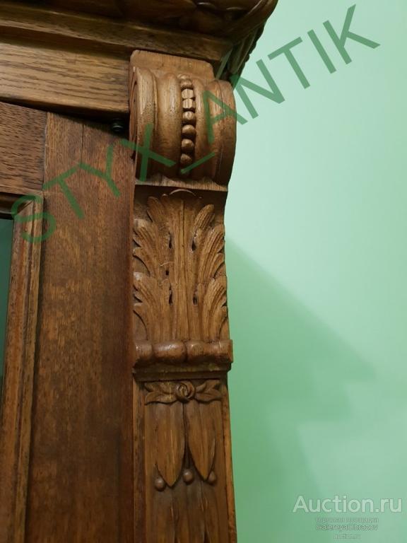Книжный шкаф в стиле историзм. Дуб Резьба. Царская Россия XIX век.