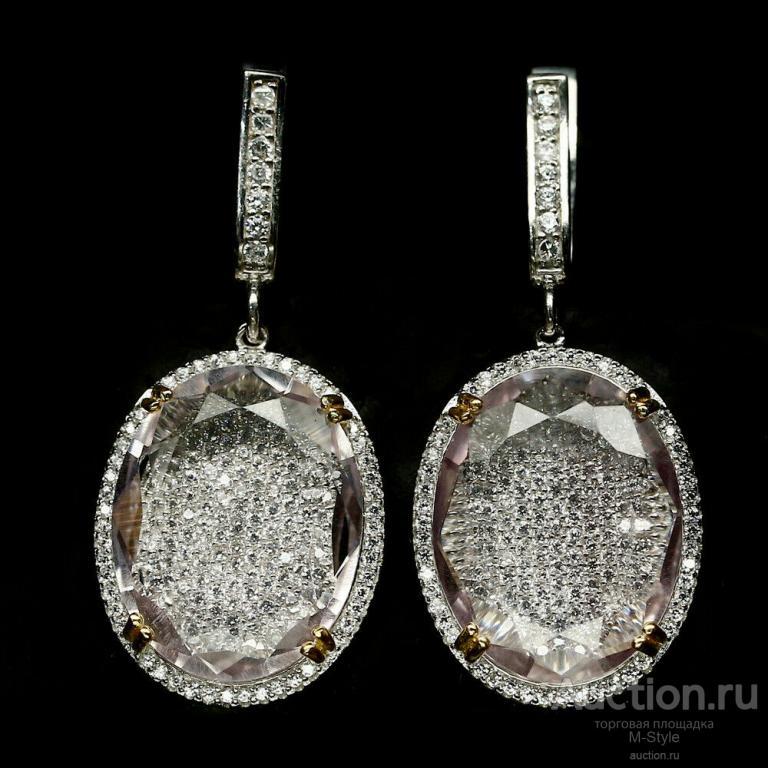 Сережки Женские из Серебра 925 С Большим Натуральным Аметистом И Фианитами Снизу