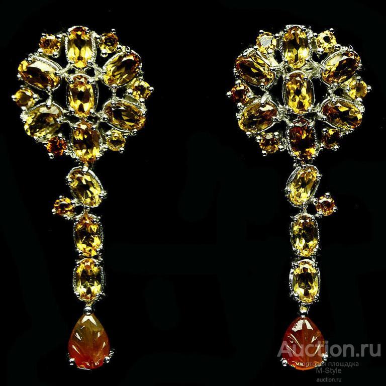 Серебряные 925 Серьги Висюльки для Женщин С Натуральными Цитринами И Резным Сердоликом
