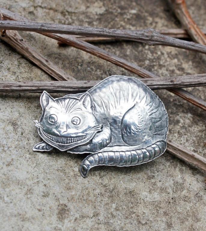 """Винтажная серебряная брошь """"Чеширский Кот"""" от Kit Carson"""