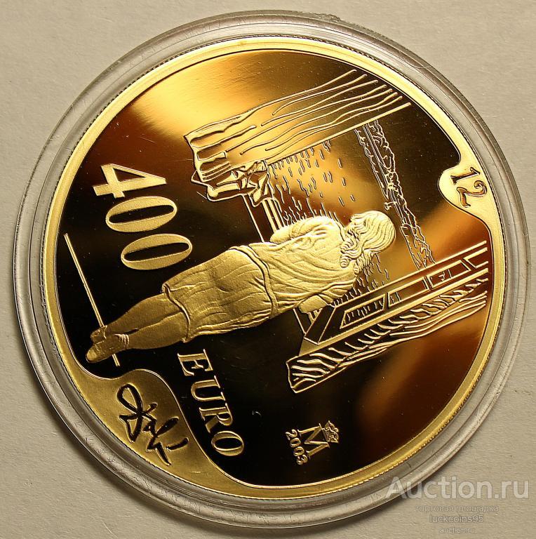 400 Евро 2004 год. Сальвадор Дали «Девушка у окна». Испания. Золото 999 пробы - 27 грамм. Редкая!
