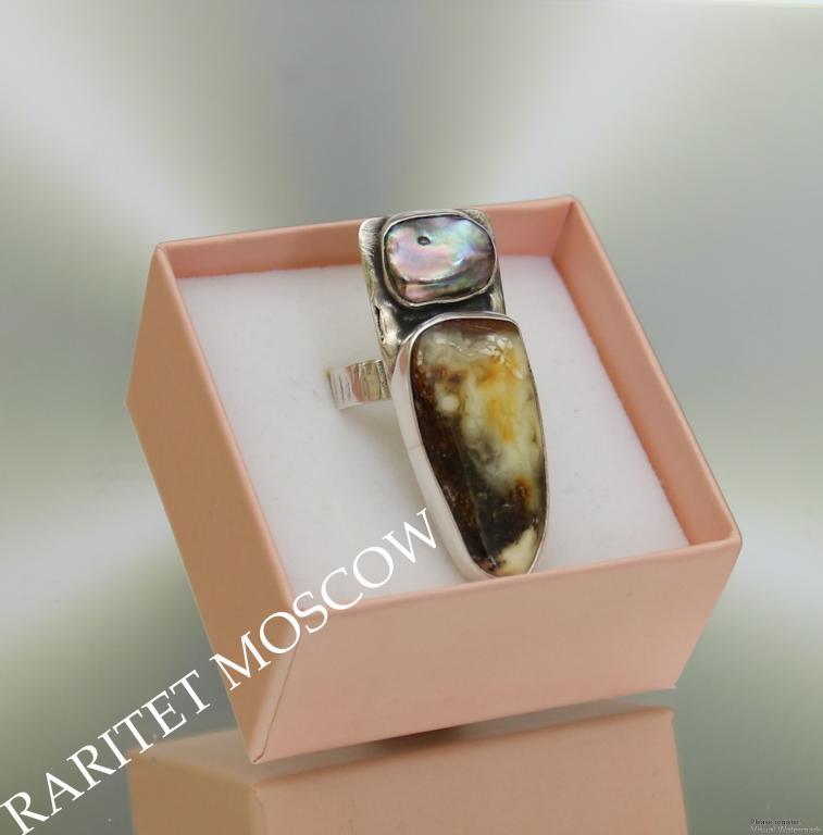 РЕДКОСТЬ Кольцо серебро 925 жемчуг мабе янтарь Италия 1