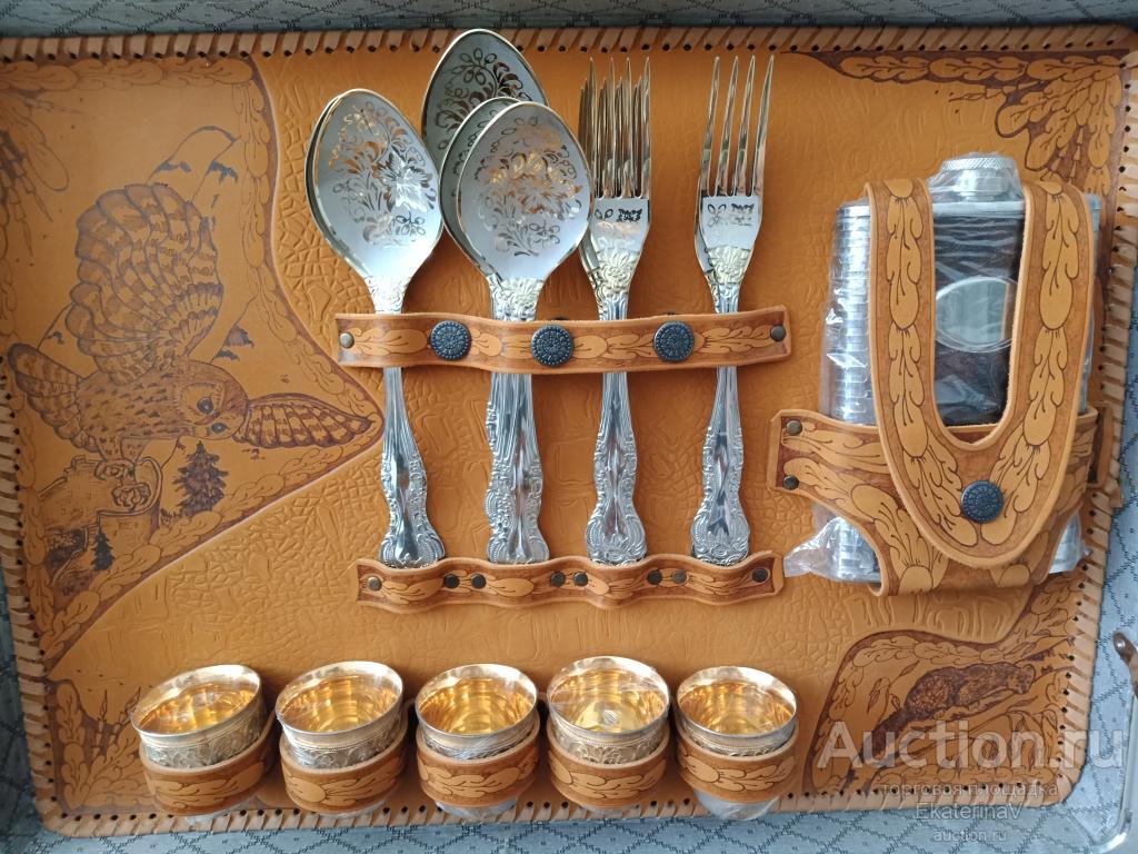 """Эксклюзивный набор для пикника на 5 персон """"Талисман-С"""". Мельхиор, серебро, золото."""