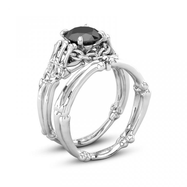 Роскошное двойное кольцо с чёрным сапфиром в белом золоте 18КGF размер 17,5 ; 18 и 19,5