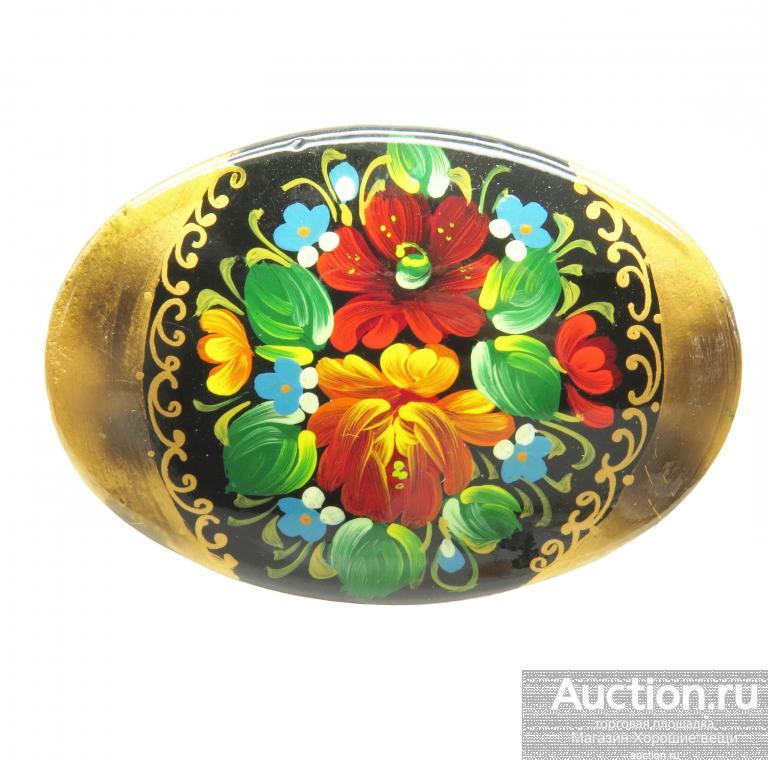 Брошь Цветы дерево папье-маше Ручная работа жостово палех живопись брошка авторская 1734