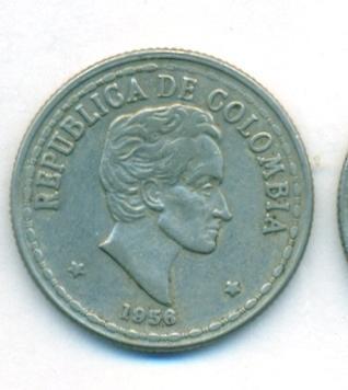 Колумбия 20 сентаво 1956 г. КМ # 215.1