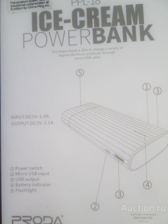 Внешний аккумулятор PRODA  PPL-18 ICE-CREAM Power Bank 10 000 mah  (53)