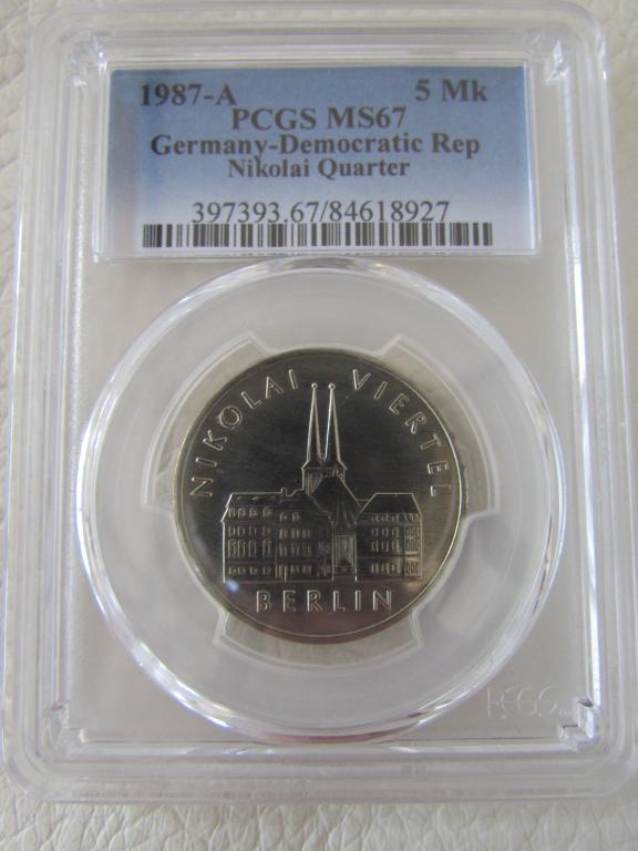 ГДР - 5 марок - 1987 года - Николай Вертель UNC Германская демократическая республика pcgs слаб