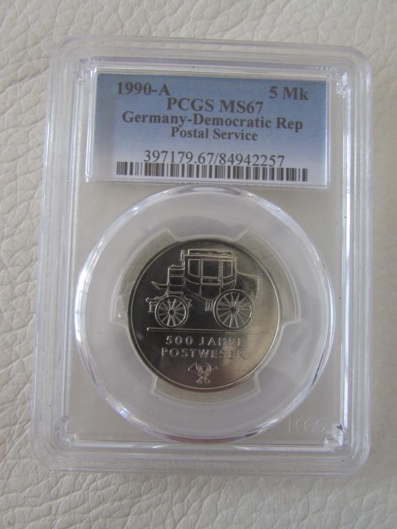 ГДР - 5 марок - 1990 года - 500 лет почты DHL оригинал Германская pcgs слаб UNC