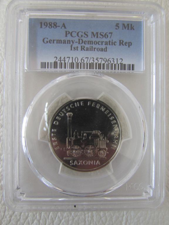 ГДР - 5 марок - 1988 года - Саксония поезд UNC Германская демократическая республика pcgs слаб