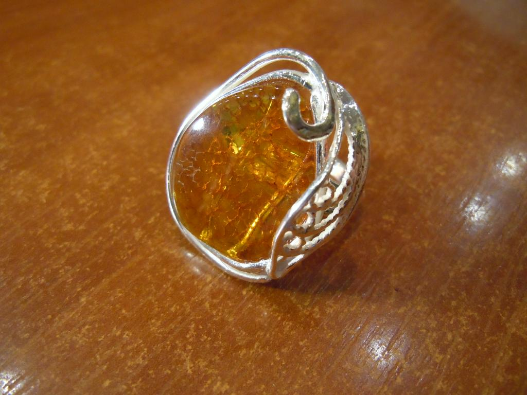 Кольцо с натуральным янтарём, 10,06гр