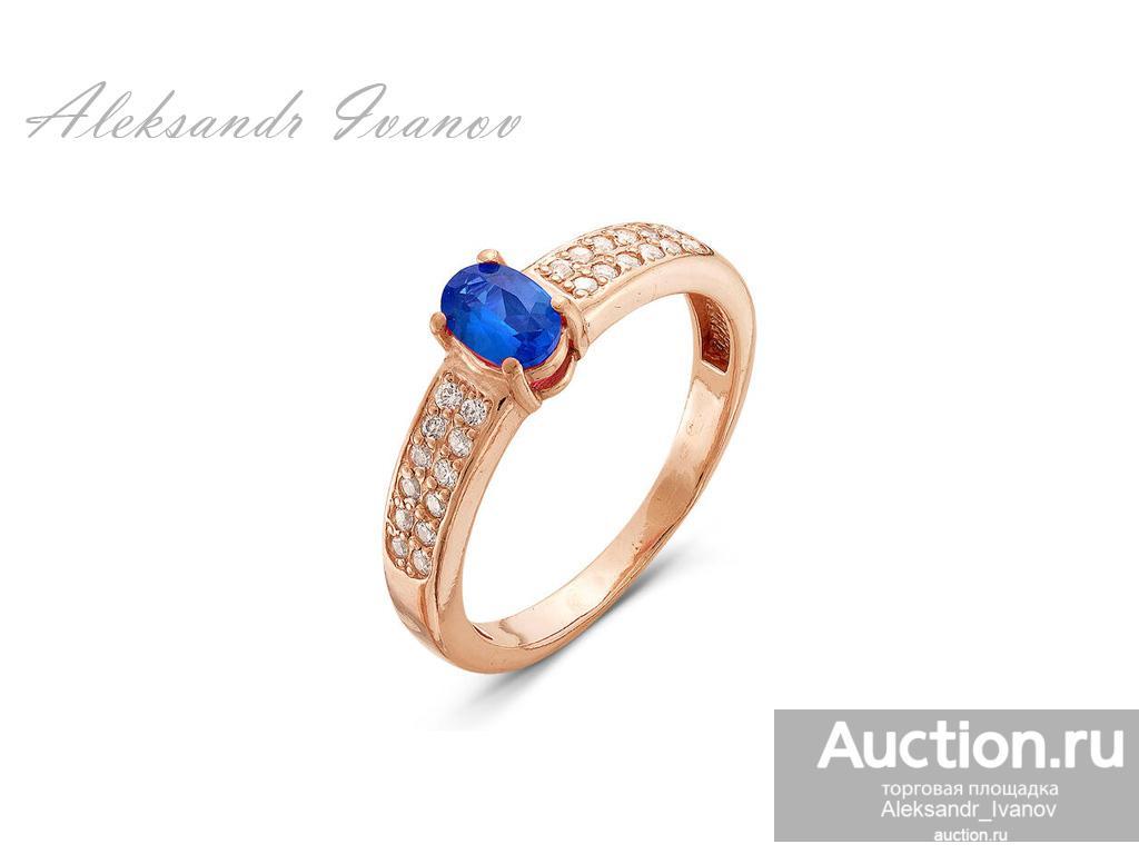 Кольцо женское, покрытие золотом, иск. шпинель, юв стекло, 18,5 размер; новое
